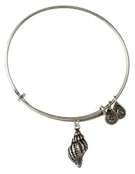 Alex And Ani Conch Shell Charm Bangle Bracelet Silver