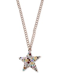 Betsey Johnson Rose Gold Tone Multi Crystal Lucite Star Pendant Necklace