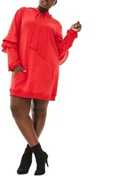Elvi Plus Size Women's The Snapdragon Ruffle Sleeve Hoodie Dress Red