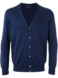 Fay Knitted Cardigan Men Cotton 54 Blue