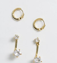 Accessorize Exclusive Swarovski Star Huggy And Stud Earrings Multipack Gold