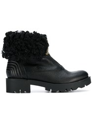 Tosca Blu Fur Zipped Ankle Boots Black