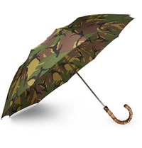 London Undercover Camouflage Print Wood Handle Telescopic Umbrella Green