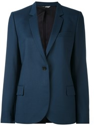 Paul Smith Ps By One Button Blazer Women Acetate Viscose Wool 44 Blue