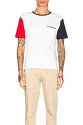 Thom Browne Fun Mix Jersey Cotton Short Sleeve Tee In Blue Red White Blue Red White