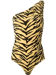 Moschino Cheap And Chic Zebra Print One Piece Bathingsuit Yellow And Orange