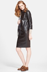 Max Mara 'Noemi' Croc Embossed Leather Jacket Dark Brown