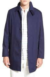 Men's Mackintosh Single Breasted Longline Waterproof Coat Ink Blue