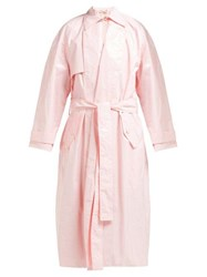 Emilia Wickstead Yves Lacquered Cotton Trench Coat Pink