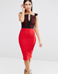 Vesper Pencil Dress With Lace Top And Notch Neckline Red