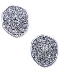 Inc International Concepts Silver Tone Pave Irregular Disc Button Stud Earrings Only At Macy's