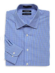 Saks Fifth Avenue Black Checkered Slim Fit Shirt Blue White