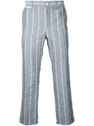 Sacai Cropped Stripe Trousers Men Cotton Linen Flax Polyester Cupro 2 Grey