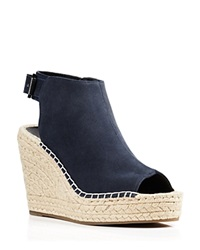 Kenneth Cole Peep Toe Espadrille Wedges Olivia High Heel Navy