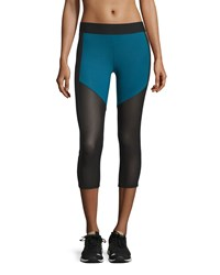 Heroine Sport Racing Paneled Capri Sport Leggings Teal