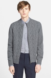 Lanvin Cable Knit Full Zip Sweater Grey