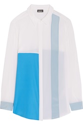 Dkny Color Block Silk Blend Shirt White