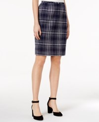 Tommy Hilfiger Tweed Plaid Pencil Skirt Navy Ivory