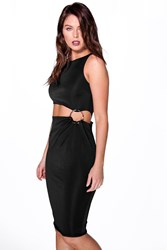 Boohoo Cut Out Waist Ring Detail Midi Bodycon Dress Black