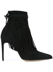 Bionda Castana 'Sahar' Fringed Ankle Booties Black