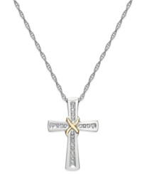 Macy's Diamond Cross X Pendant Necklace In Sterling Silver And 14K Gold 1 10 Ct. T.W.