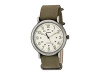 Timex Weekender Chrono Oversize Fabric Slip Thru Strap Olive Antique Chrome Cream Watches