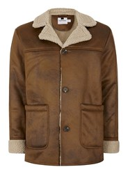 Topman Brown Camel Faux Shearling Coat