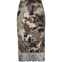 River Island Womens Grey Camo Lace Hem Skirt