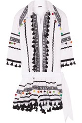 Dodo Bar Or Embellished Embroidered Cotton Gauze Playsuit White