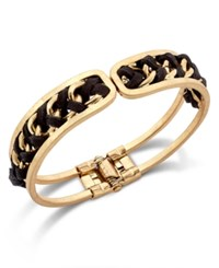 Inc International Concepts Gold Tone Woven Hinge Bracelet Only At Macy's Black