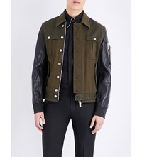 Dsquared2 Military Cotton And Leather Bomber Jacket Mix Colour