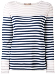Cruciani Striped Print Long Sleeve Top Women Silk Cotton 44 Blue