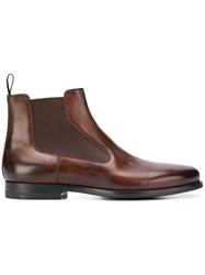 Santoni Flat Ankle Boots Brown