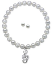Macy's Children's Cultured Freshwater Pearl 3 1 2 4Mm Treble Clef Stretch Bracelet And Matching Stud Earrings In Sterling Silver