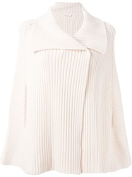 See By Chloe Ribbed Knit Cape Cardigan Nude And Neutrals