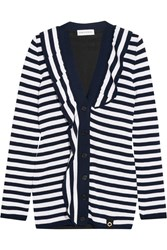 Sonia Rykiel Ruffled Striped Knitted Cardigan Midnight Blue White