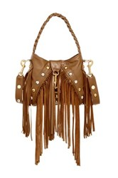 Jj Winters Chase Fringe Multi Stud Leather Crossbody Brown