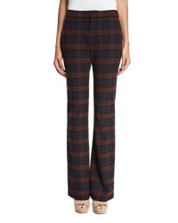 Derek Lam Plaid Flare Trousers Red Midnight Red Midnight