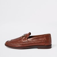 River Island Brown Leather Woven Loafers