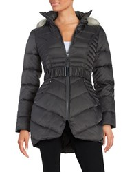 Betsey Johnson Faux Fur Trimmed Hooded Belted Puffer Coat Steel