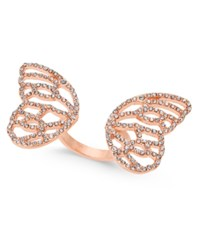 Thalia Sodi Pave Butterfly Wings Ring Created For Macy's Rose Gold