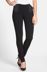 Lafayette 148 New York Pintuck Seam Punto Milano Skinny Pants Black
