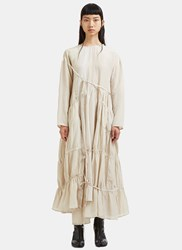 Renli Su Long Tiered Ruched Seam Linen Dress Beige