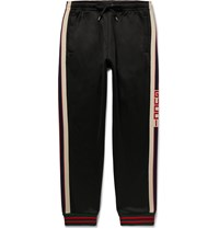 Gucci Tapered Webbing Trimmed Tech Jersey Track Pants Black