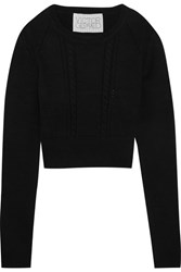 Victor Glemaud Cropped Open Back Cotton And Cashmere Blend Sweater Black