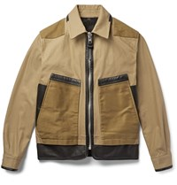 Coach Panelled Twill And Leather Jacket Brown