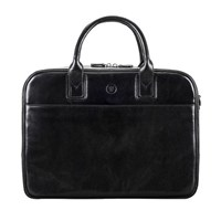 Maxwell Scott Bags Luxury Black Leather Soft Briefcase For