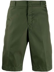 Prada Logo Plaque Bermuda Shorts Green