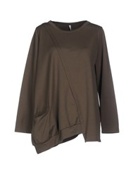 Corinna Caon Topwear Sweatshirts Women Military Green