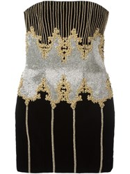 Balmain Sleeveless Baroque Dress Black